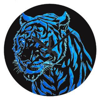 Blue Tiger Wall Clock