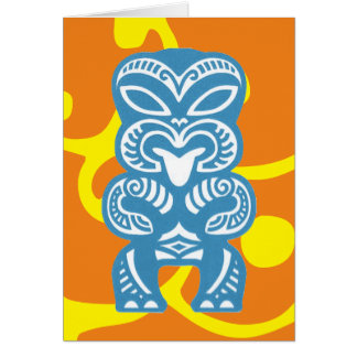 Blue Tiki Good Luck Figure Symbol Greeting Card