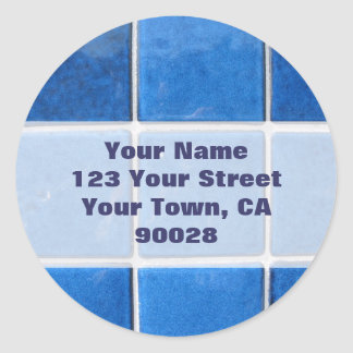 blue tile address labels stickers