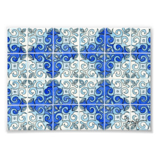 Blue Tile Design 2 - Swirls Art Photo