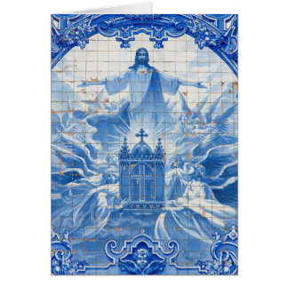 Blue tile mosaic of jesus, Portugal Card