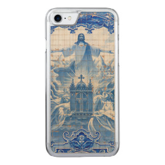 Blue tile mosaic of jesus, Portugal Carved iPhone 8/7 Case