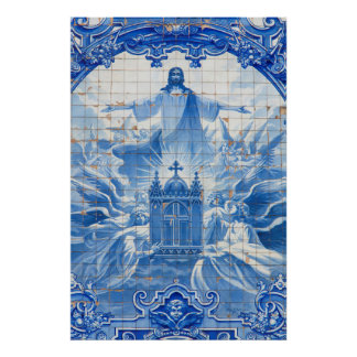 Blue tile mosaic of jesus, Portugal Poster