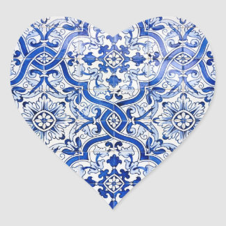Blue Tile Portuguese Azulejo Heart Sticker