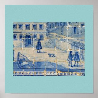 Blue tile poster