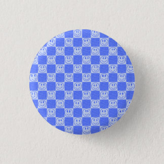 Blue Tiles with Smiles 3 Cm Round Badge