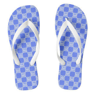 Blue Tiles with Smiles Thongs