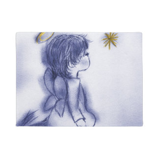 blue tint angel wishing doormat
