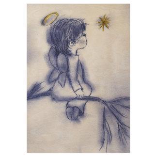 blue tint angel wishing wood poster