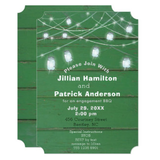 Blue Tint Mason Jar Lights BBQ Green Wood Couple Card