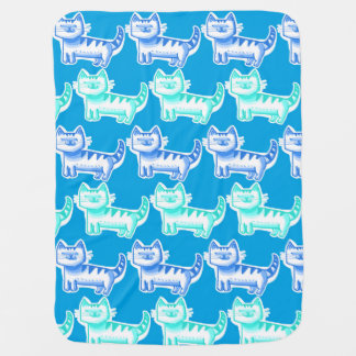 blue tint tabby kitties cartoon for baby boy baby blanket