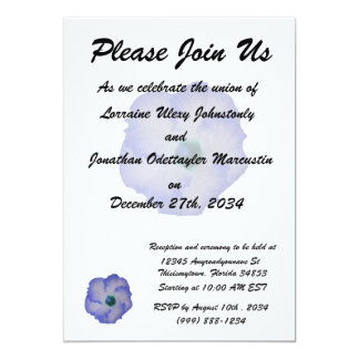 Blue tinted hibiscus flower personalized invites