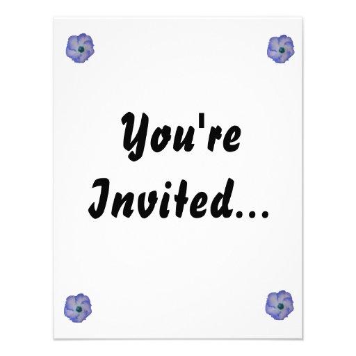 Blue tinted hibiscus flower invitations
