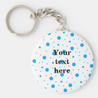 Blue tiny and big polka dots basic round button key ring