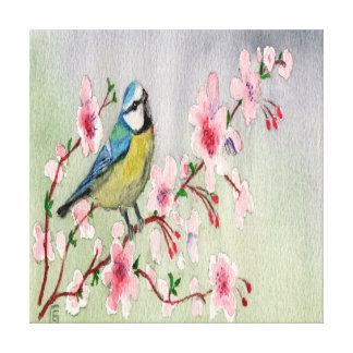 Blue Tit Bird On Cherry Blossom Tree Watercolour Canvas Print