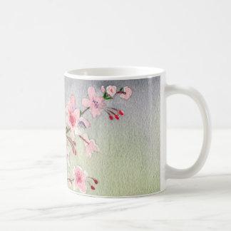 Blue Tit Bird On Cherry Blossom Tree Watercolour Coffee Mug