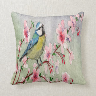 Blue Tit Bird On Cherry Blossom Tree Watercolour Cushion