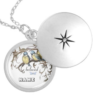 Blue tits Medaillion: .beloved. Locket Necklace