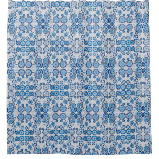 Blue Toile Floral Bathroom Shower Curtain