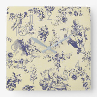 Blue Toile French Country Cherub Pattern Square Wall Clock