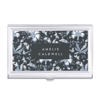 Blue Toile Personalized Business Card Holder