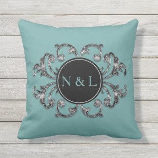 Blue Tone Custom Monogram Black & White Cushion