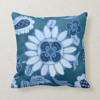 Blue Tone on Tone Moroccan Paisley Modern Pattern Throw Pillow