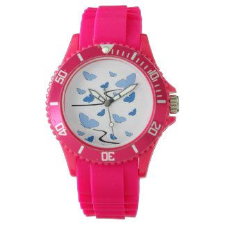 Blue tones butterflies on a Pink Watch