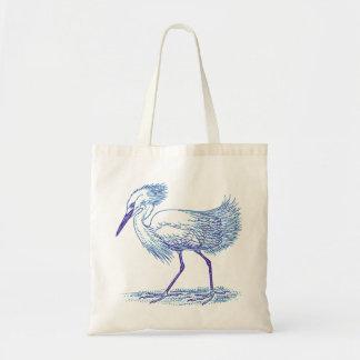 Blue Tones Egret Bird Tote Bag