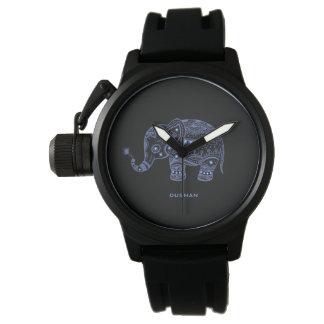 Blue Tones Faux Glitter Floral Elephant Design Watch