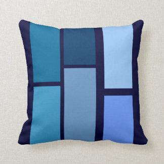 blue tones geometric rectangles throw cushion