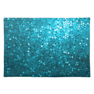 Blue Tones Retro Glitter And Sparkles Place Mat
