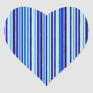 Blue Tones Vertical Stripes Heart Sticker