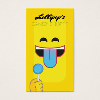 Blue Tongue Emoticon Business Card