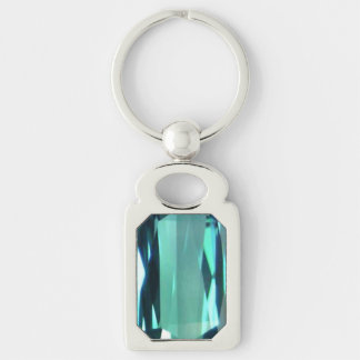 Blue Topaz 4 Silver-Colored Rectangle Key Ring
