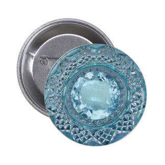 Blue Topaz and Cut Glass 6 Cm Round Badge
