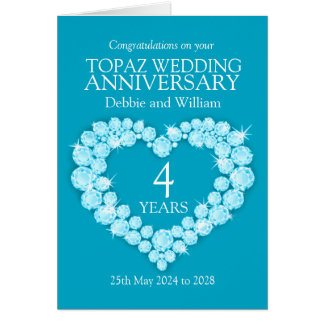 Blue Topaz wedding anniversary name details card