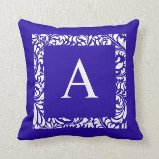 Blue Toss Pillow  Monogram A Cushions