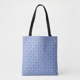 Blue Tote Bag Dandelion Seeds Pattern