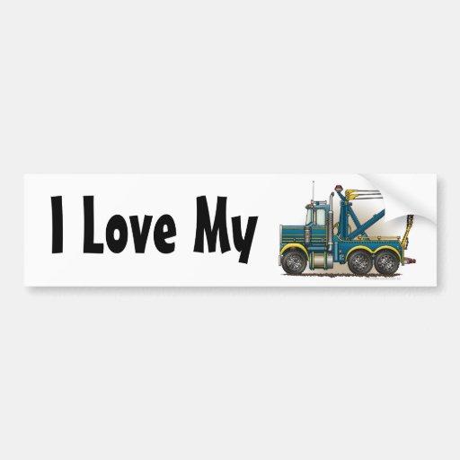 """""""Blue Tow Truck Wrecker, I Love My Bumper Sticker"""""""