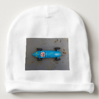 Blue toy car baby beanie