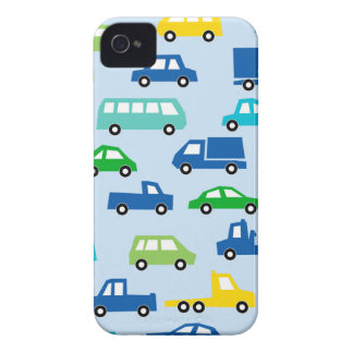 blue toy car pattern - automobile illustration iPhone 4 cover