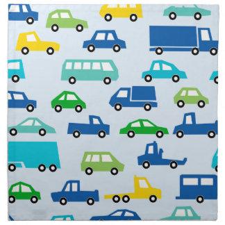 blue toy car pattern - automobile illustration napkin