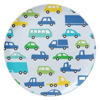 blue toy car pattern - automobile illustration plate