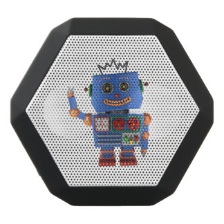 Blue toy robot waving hello