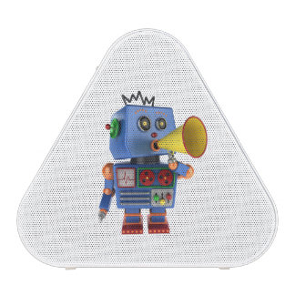 Blue toy robot with bullhorn