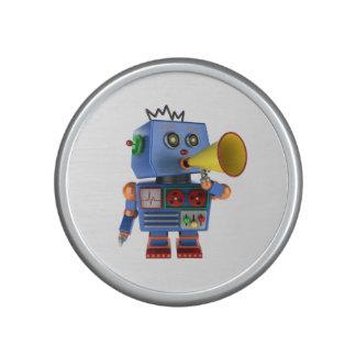 Blue toy robot with bullhorn bluetooth speaker