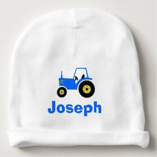Blue tractor boys personalised name baby beanie