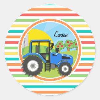 Blue Tractor; Bright Rainbow Stripes Round Sticker