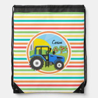 Blue Tractor; Bright Rainbow Stripes Rucksack